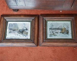 121. Pair of Framed Winter Genre Scenes