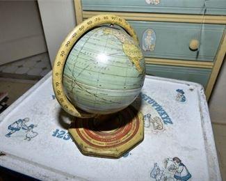 134. Small Vintage Globe with Zodiac Detail