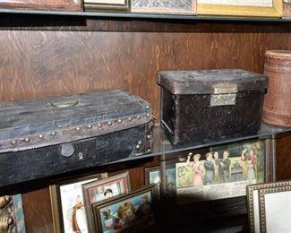 135. Three 3 Antique Leatherette Boxes