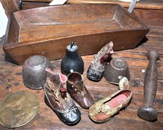 144. Various Antique Items Including Childs Shoes
