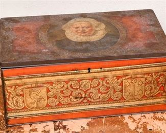 151. Antique Tin Box with Image of a Woman