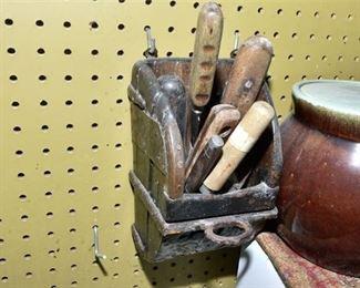 157. Antique Wood and Metal Utensils