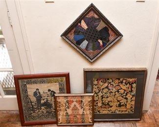 179. Four 4 Framed Textile Art Pieces