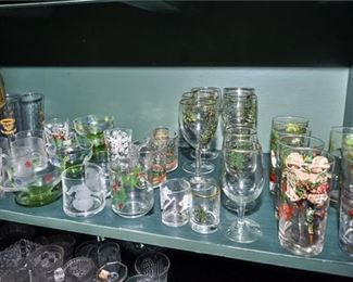 184. Collection of Christmas Themed Glassware