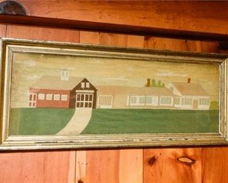 192. Vintage Framed Folk Art Needlepoint Country House