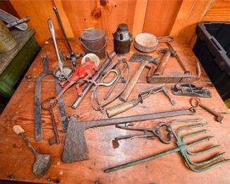 202. Large Mixed Lot Vintage Farm Garden Tools