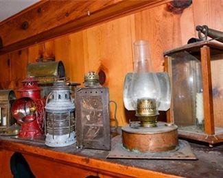 205. Collection of Vintage Antique Lanterns  Lamps