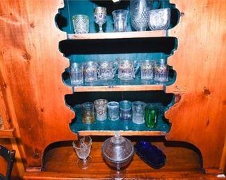 208. Mixed Lot Vintage Glassware Stemware wDishes