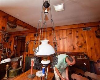 210. Antique Decorative Victorian Hanging Oil Lamp
