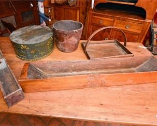 213. Mixed Lot Vintage Wooden Trays Boxes