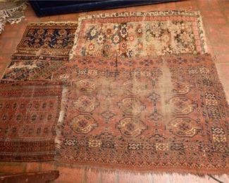 220. Lot of Four 4 Antique TURKISH Wool Area Mats