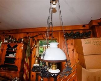 223. Antique Victorian Decorative Hanging Oil Lamp