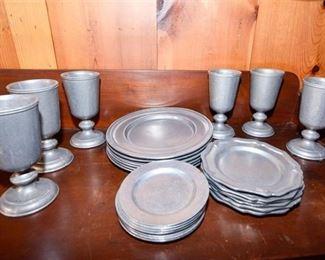 232. Lot of Vintage Pewter Dinner Plates Goblets