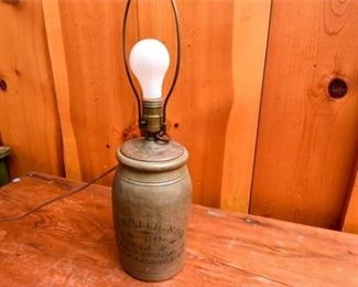 234. Fine Antique Pottery Crock wAdvertising Turned Into Lamp