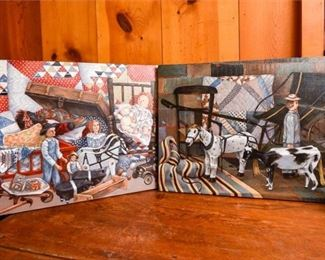 238. Two 2 WILLIE MITCHINER Oil on Canvas Folk Art Paintings