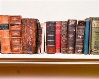 241. Small Collection Antique Leather Bound Books wBible Studies History