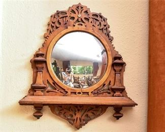 240. Antique Carved Wooden Wall Mirror wShelf
