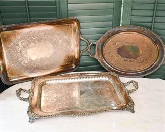 246. Three 3 Vintage Silver Plated Serving Trays wHandles