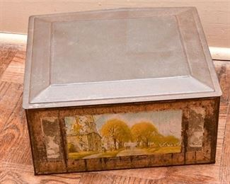 257. Hand Painted Antique Tin Box