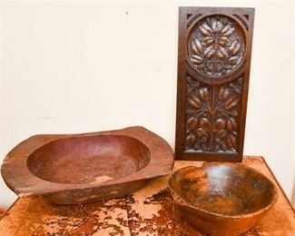 260. Group of Three Carved Wood Items
