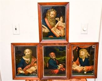 263. Grouping of Four 4 Prints Depicting Saints