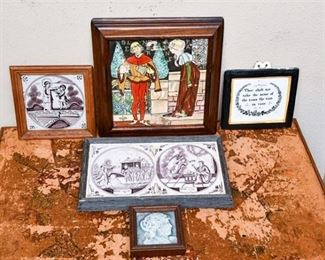 264. Grouping of Hand Painted Antique Tiles