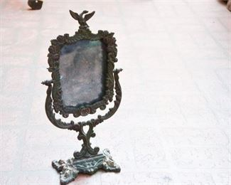 266. Antique Mirror with Cast Iron Frame