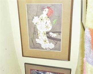 270. Allison Christie Signed Watercolor of Clown