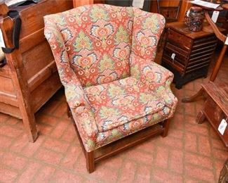 274. Vintage Chippendale Style Wing Back Armchair