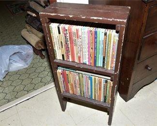 275. Vintage Country Primitive Handmade Wooden Bookshelf wBooks