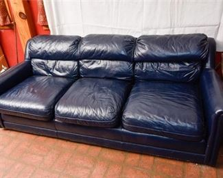 280. Contemporary Blue Leather SofaCouch