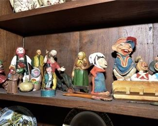 288. Collection Vintage Carved Wood Figurines Characters