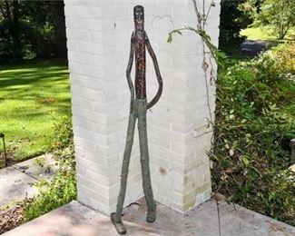 290. Unique Vintage Folk Art Wooden Tall Stick Man Figure