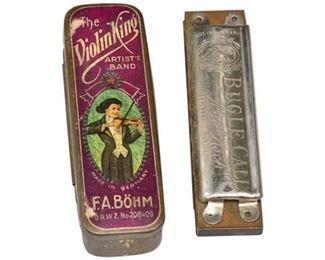291. Two 2 Vintage Harmonicas wOriginal Tin