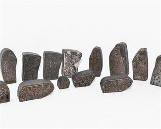 297. Collection Mid Century Modern Wooden Ink Stamp Blocks