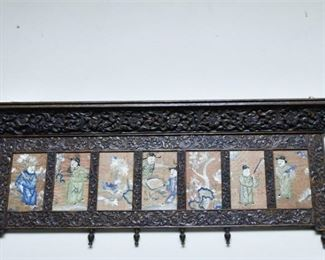299. Antique Carved Oak Wall Shelf wChinese Silk Embroidered Panels