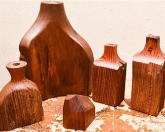 300. Mixed Lot Hand Carved Decorative Wooden Bud Vases