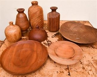 303. Collection Hand Crafted Artisan Wood Objects Collectibles