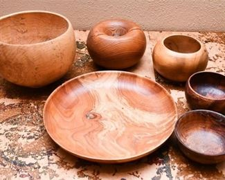 306. Collection Artisan Turned and Carved Wooden Bowls Serving Pieces