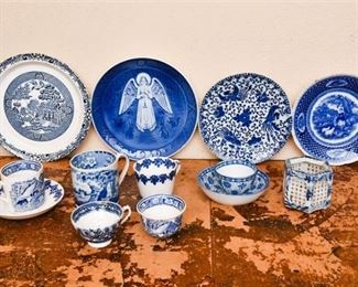 304. Mixed Collection Flow Blue Ceramic Plates Serving Pieces