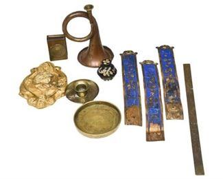 313. Mixed lot Vintage Brass Articles CLOISONNEDISHESHORN