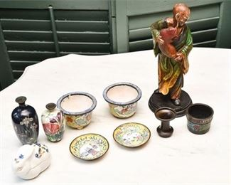 315. Collection Vintage Chinese Cloisonne Enamel Objects wCarved Wooden Figure