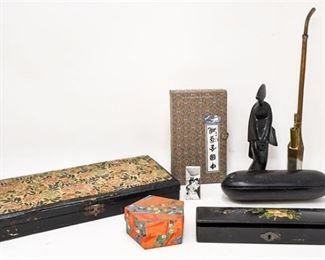 316. Mixed Lot Asian Chinese Collectibles PIPEGEISHAPEN BOX