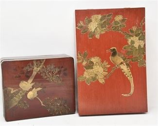 319. Vintage Japanese Lacquered Trinket Box wWooden Storage Box
