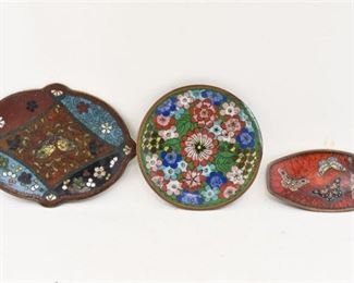 320. Lot of Three 3 Vintage Chinese Cloisonne Side Dishes