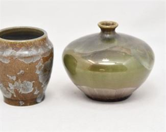 322. Two 2 Artisan Ceramic Vases wIrredescent Glaze