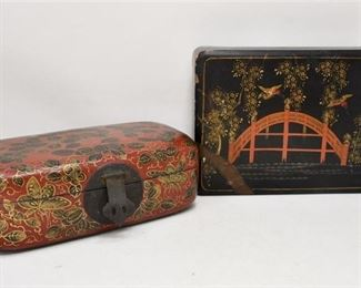 324. Nice Lot of Two 2 Vintage Japanese Lacquered Trinket Boxes