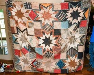 325. Large Antique Hand Made Quilt wStar Patterns