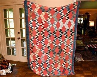 328. Hand Stitched Vintage Geometric Pattern Quilt