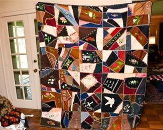 329. Hand Stitched Vintage Geometric Pattern Quilt